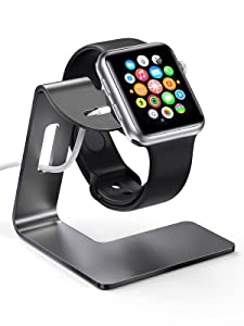 KWQ Charging Stand for Apple Watch Desk Watch Stand Holder Charging Dock Station Compatible with Apple Watch Series SE/Series 6/5 / 4/3 / 2/1 / 44mm / 42mm / 40mm / 38mm (Black)