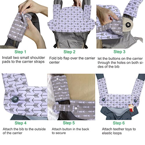 Kyapoo Baby Drool and Teething Pad Reversible Organic Cotton Bibs 3 Piece Gift Set for Ergobaby Four Position 360 Baby Carrier Black White Arrows by Kyapoo (Image #5)