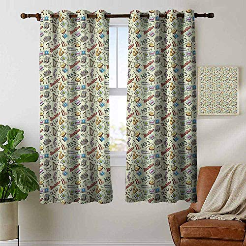 (Decor Curtains by Music,Drums Fun Keyboard Icons Guitar Tempo Harp MP3 Playing Boombox Gjettoblaster Graphic, Multicolor,Wide Blackout Curtains, Keep Warm Draperies,1 Pair 52