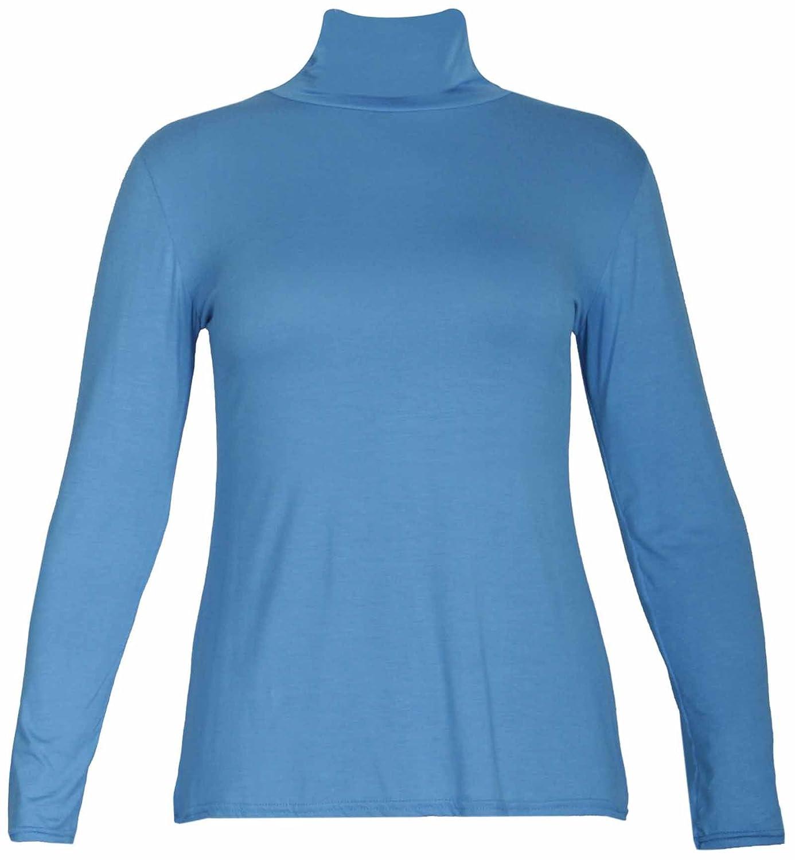 NEU Damen geraffte Rollkragen Polokragen Stretch Fit Top Damen langärmlig  Alltag T-Shirt Oberteile Übergröße: Amazon.de: Bekleidung