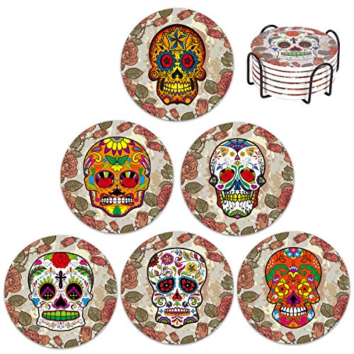 (Vencer Skull Head Ceramic Coasters for Drink with Holder - Absorbing Stone Coasters with Cork Base,Prevent Furniture - Day of the Dead Dia De Muertos,Set of 6)