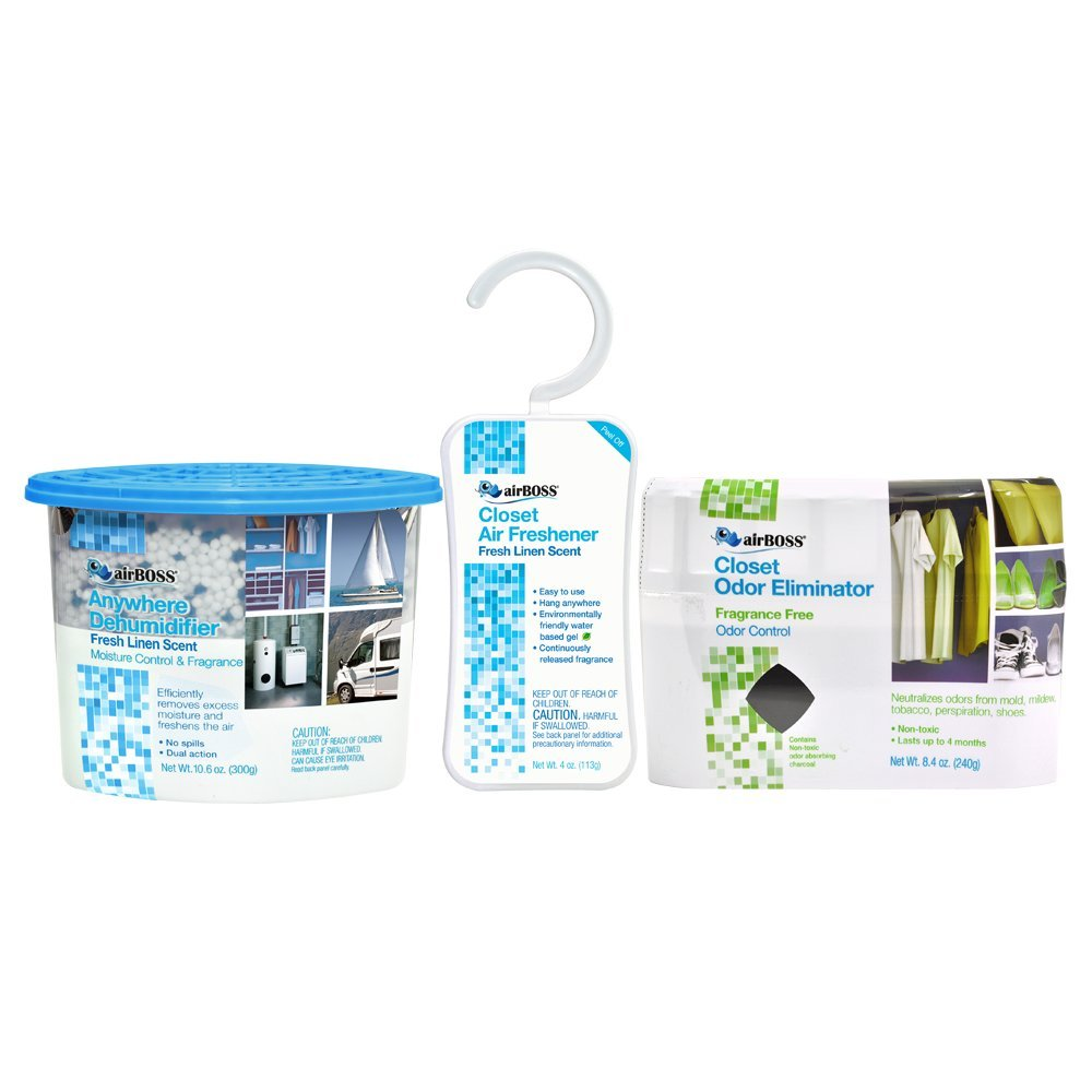 airBOSS Air Care Bundle Pack - Anywhere Dehumidifier, Odor Eliminator and Air Freshener Hanger (1)