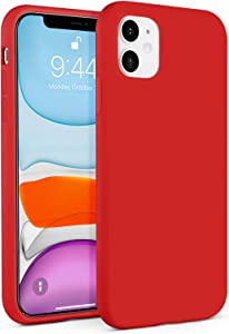 BEBEN Liquid Silicone Case Compatible with iPhone 11 Case, Gel Rubber Full Body Protection Shockproof Cover Case Drop Protection Case for Apple iPhone 11 6.1 inch (Red)
