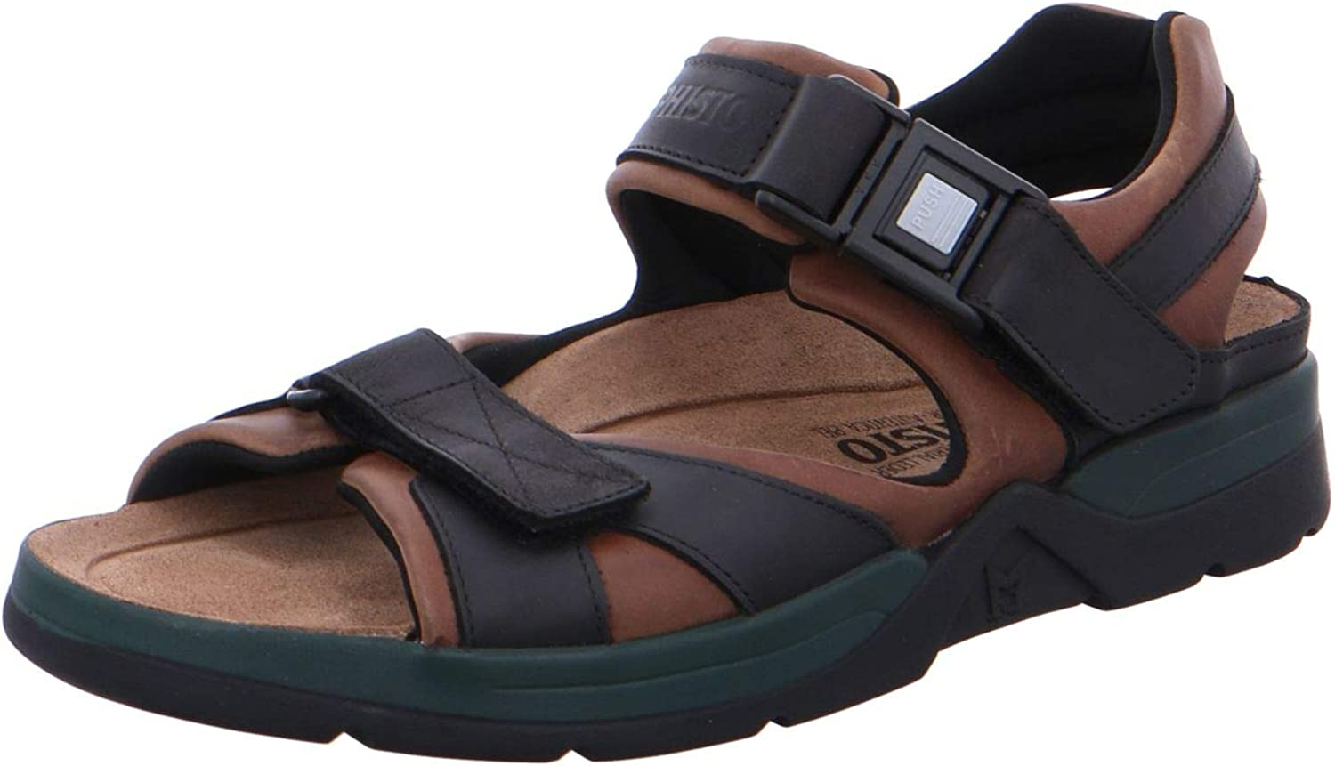 Mephisto Men's Shark Sandals Dark Brown/Black Waxy Leather 9 M US