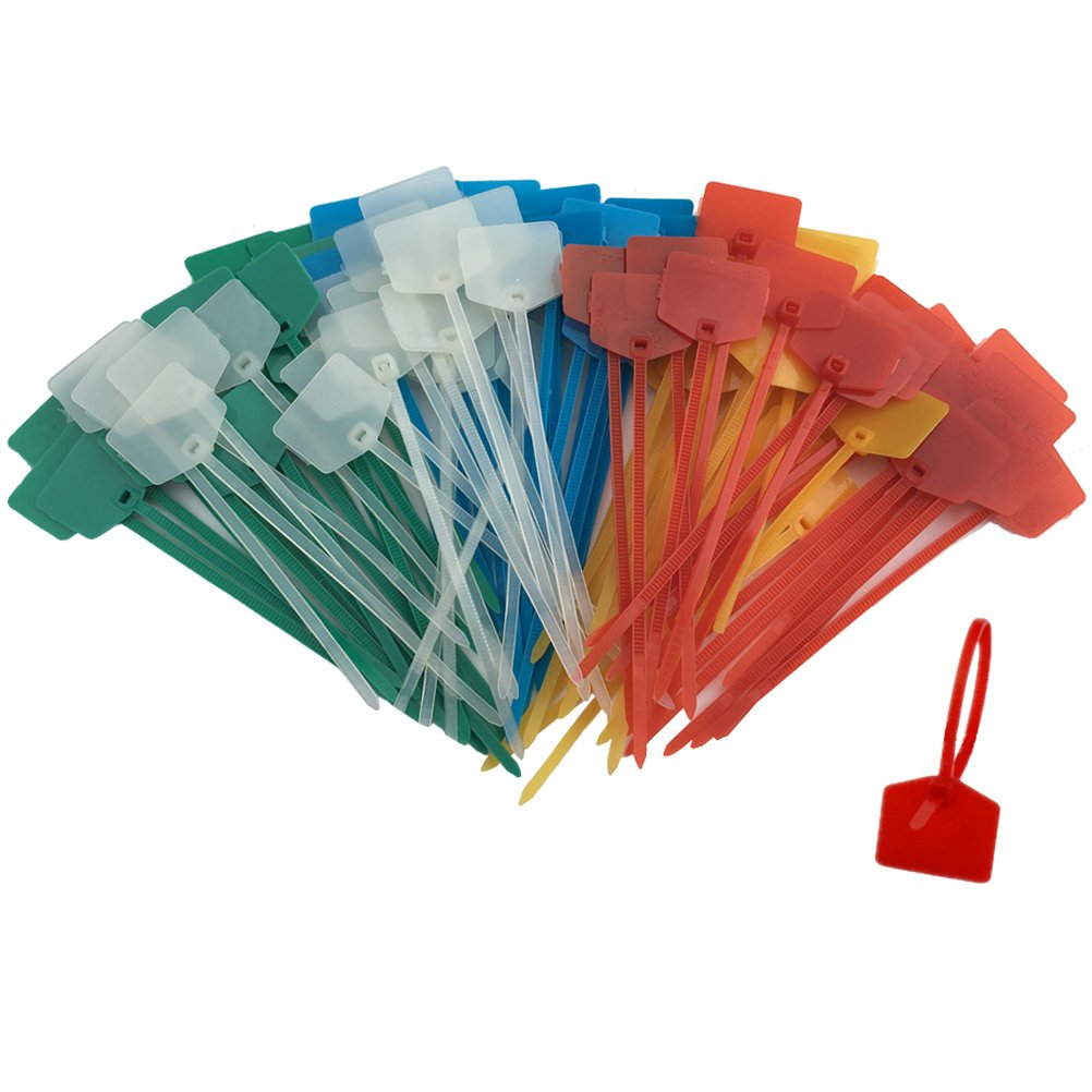 Huouo 50 PCS 5 Inches Nylon Marker Cable Ties Self Locking Cord Tags Label Wire Straps Assorted Colors