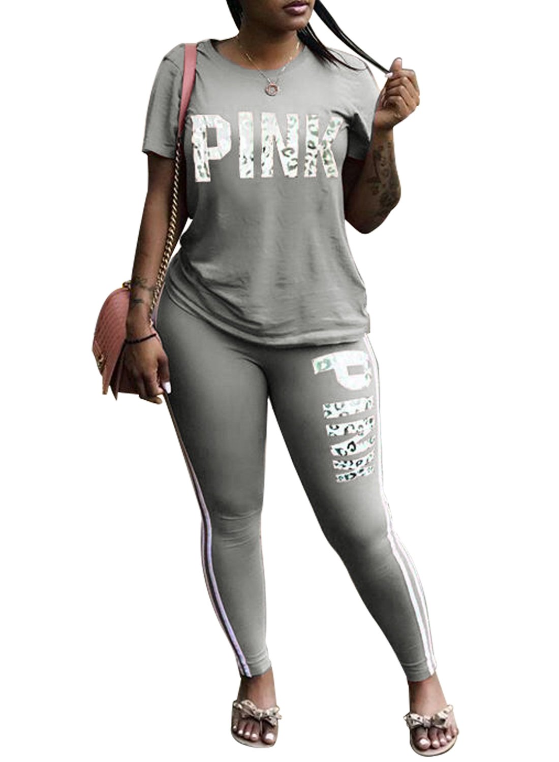 Just For Future Women Jumpsuit Pink Letter Print Short Sleeve Crop Top Long Pants Tracksuit 2 Piece Outfits (Grey, XL)