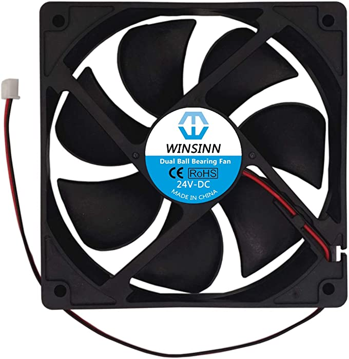 WINSINN 120mm Fan 24V Dual Ball Bearing Brushless 12025 120x25mm for Cooling PC Computer Case CPU Coolers Radiators - 2Pin