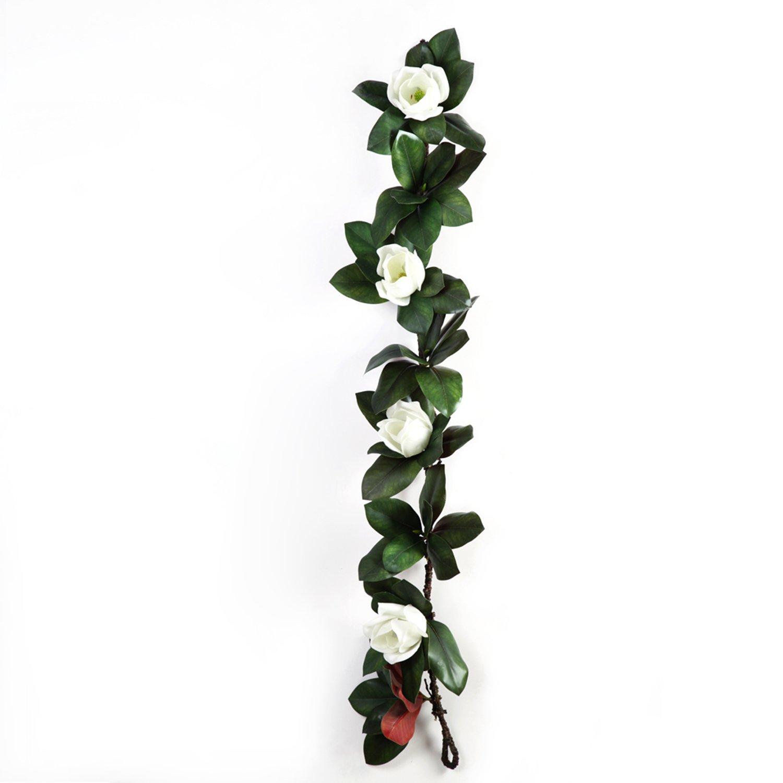 Li Hua Cat 3d Reality Magnolia花人工植物で4 Big Headsプラスチック材質Fake Flower Vine for Hanging Decoration Wall Decor Make WreathまたはDIY使用 59.1in ホワイト B07D33VRM7 3d Reality Magnolia