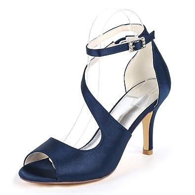 29b71e9b9681f3 Eleoulck Damen Hochhackige Peep Toe Stiletto Sandalen Schnalle Satin  Hochzeit Brautschuhe   8.5cm Heels