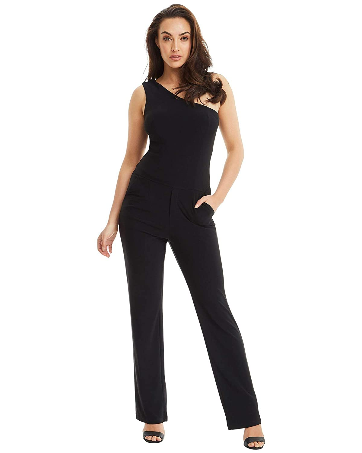 45a6b89122a3 Amazon.com  Skiva One Shoulder Pantsuit - Black  Clothing