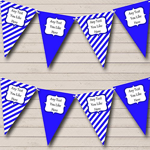 Royal Blue And White Stripes Personalized Birthday Party Bunting Banner Garland