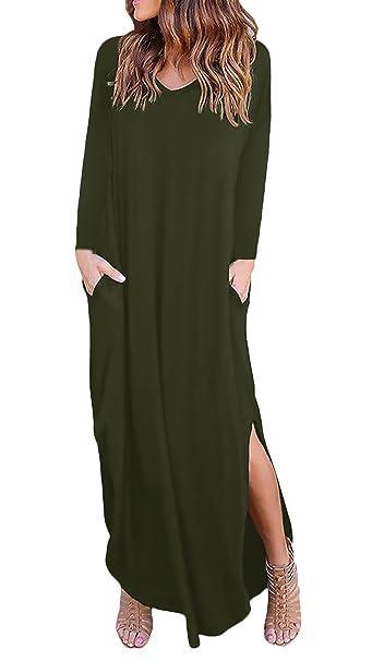 Maxi Vestido Mujer Elegante Manga Larga Cuello Redondo Retro Anchas Blusas Nkleid Largos Color Sólido Abiertas