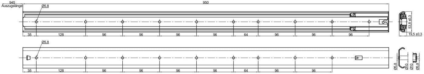 2 x Vollauszug KV180H53SC 700 mm Belastbar bis 80 Kg mit Soft-Closing Schiene von JUNKER