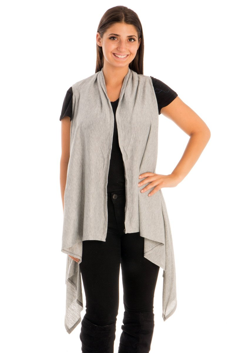 Be Your Own Style BYOS Womens Fashion Open Front Long Jersey Vest In Solid Color Cover-UPS For Beach (Lt.Gray)