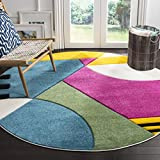 Safavieh Hollywood Collection HLW706C Peacock Blue and Fuchsia Round Area Rug, 6'7″ in Diameter