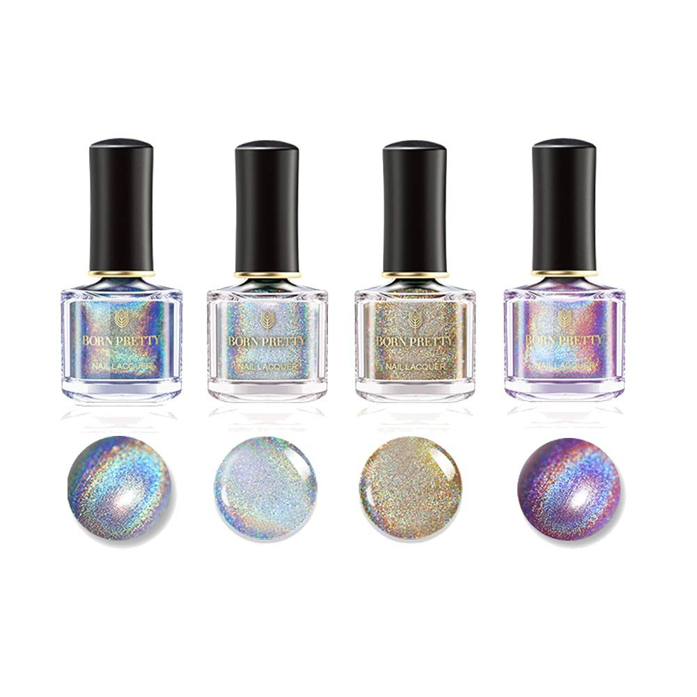 BORN PRETTY Holographic Nail Polish Shimmer Sparkle Glitter Shine 4pcs Holo Manicure Varnish Lacquer 6ml Sets