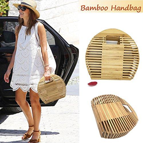 les Totes 26 fille sac Beach Gaeruite tressé pour bambou 7 x x 5 de la femmes Summer 23 Bag demi 5cm Handmade rangement de cercle sac qHwwxF6ZXz