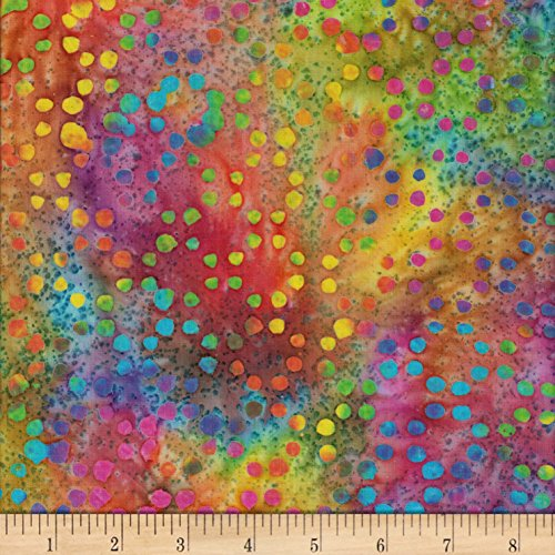 Textile Creations Gypsy Batik Dots Fabric, Bright Multicolor, Fabric By The ()