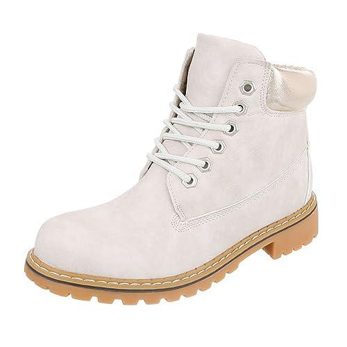 Italiana de diseño Zapatos Botines con Cordones Mujer Profundidad letten, Color Beige, Talla 37 EU: Amazon.es: Zapatos y complementos