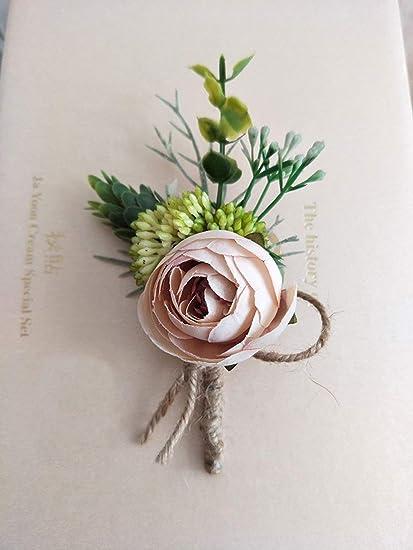 AILINDA - Ramo de Flores Artificiales de peonía de Seda para decoración de Bodas, 2