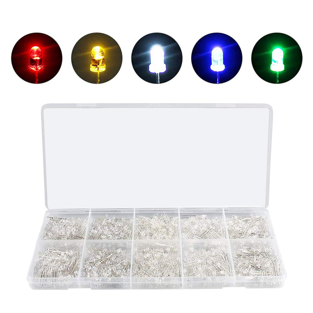 White Yellow Red Blue Green Gasea 500pcs 5mm Light Emitting Diodes 2Pin Round LED Bulb Lamp Assorted Kit for Electronic Components Parts 5 Colors x 100Pcs