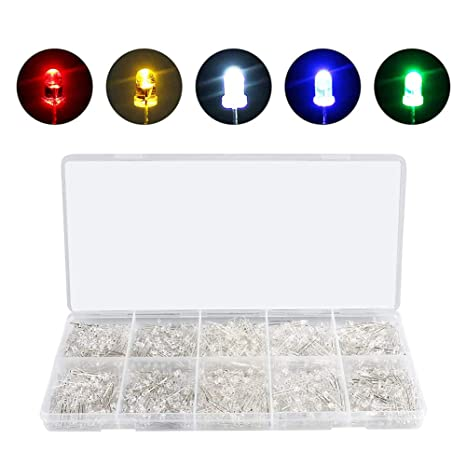 750 Pcs Ultra Bright 3mm LED Light Assortment Emitting Diodes DIY Component Kit