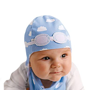 My Little Duckling Hat Newborn Baby Pilot - Blue and White Clouds ... fee5e2f36a0