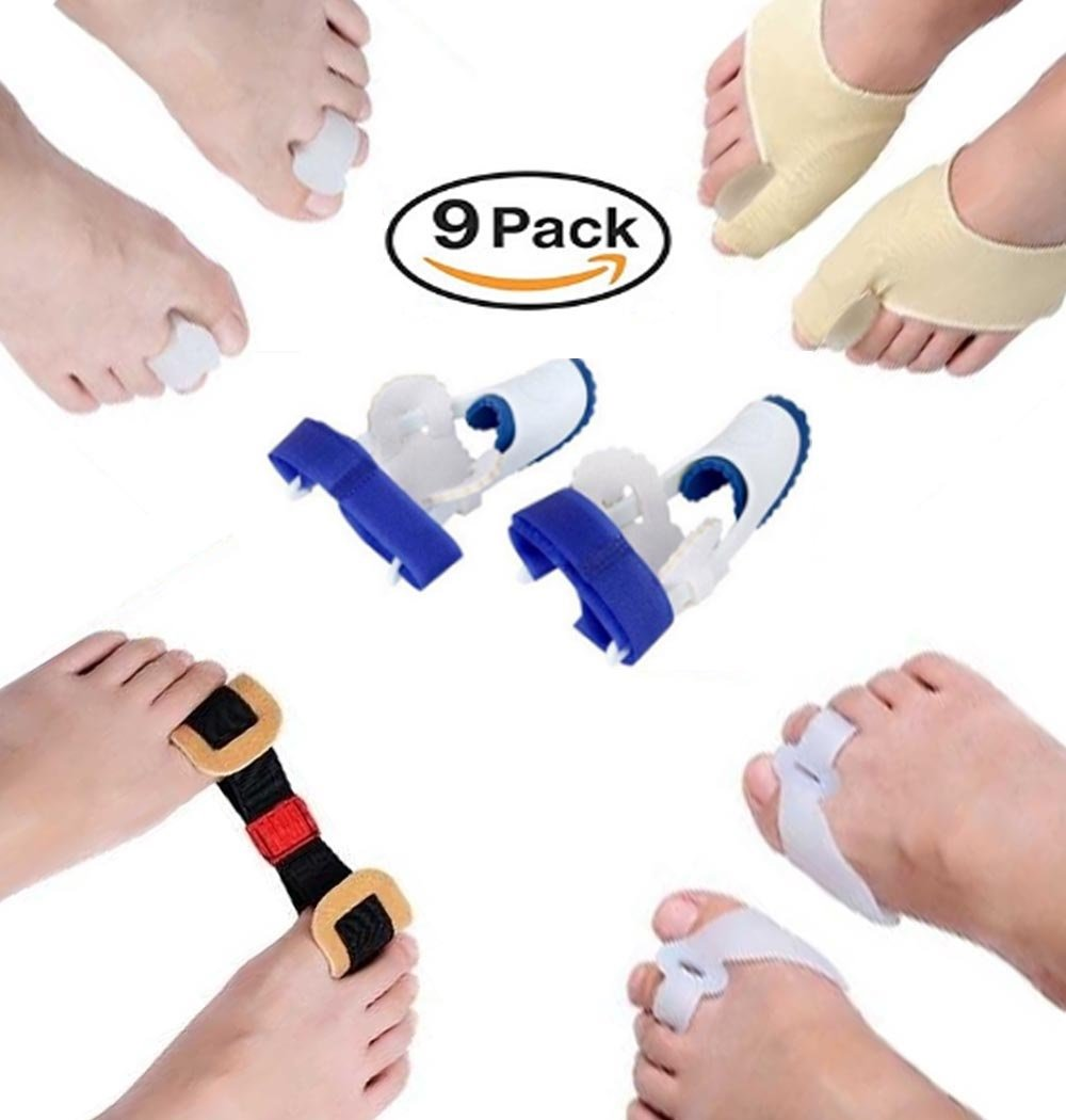9 in 1 Orthopedic Bunion Corrector Kit Set for Men & Women Hallux Valgus Brace Gel Splint Pads for Foot Care, Sleeve Kit & Relieve Toe Separator by Extreme Cart