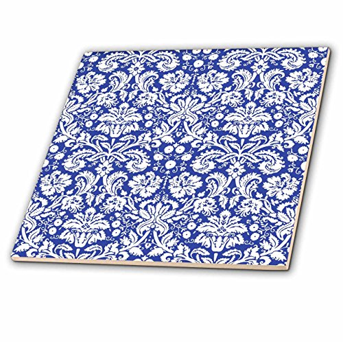 - 3dRose ct_151455_1 Royal Blue and White Damask Pattern Stylish Elegant Victorian Vintage French Floral Swirls Navy Ceramic Tile, 4