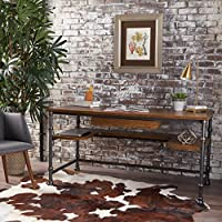 Loster Home Office Desk | Industrial, Rustic Design | Faux Ash Wood Overlay | Dark Brown Finish