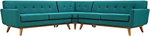 Modway Engage Mid-Century Modern Upholstered Fabric L-Shaped Sectional Sofa