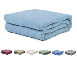 2PO Twin/Full Size 100% Cotton Thermal Blanket (Sky Blue)