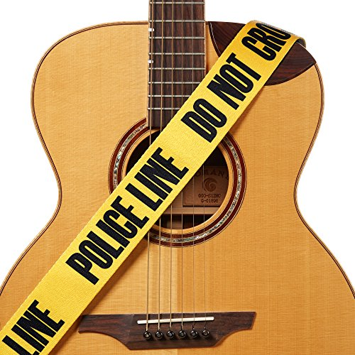 (Amumu Police Line Guitar Strap Yellow Polyester Cotton for Acoustic, Electric and Bass Guitars with Strap Blocks & Headstock Strap Tie - 2
