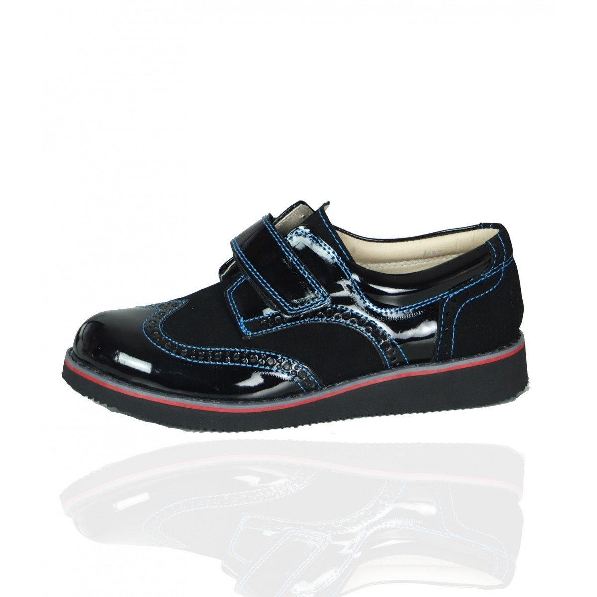 Venice SIRRI Boys Black /& Blue Patent Suede Formal Brogue Velcro Shoes