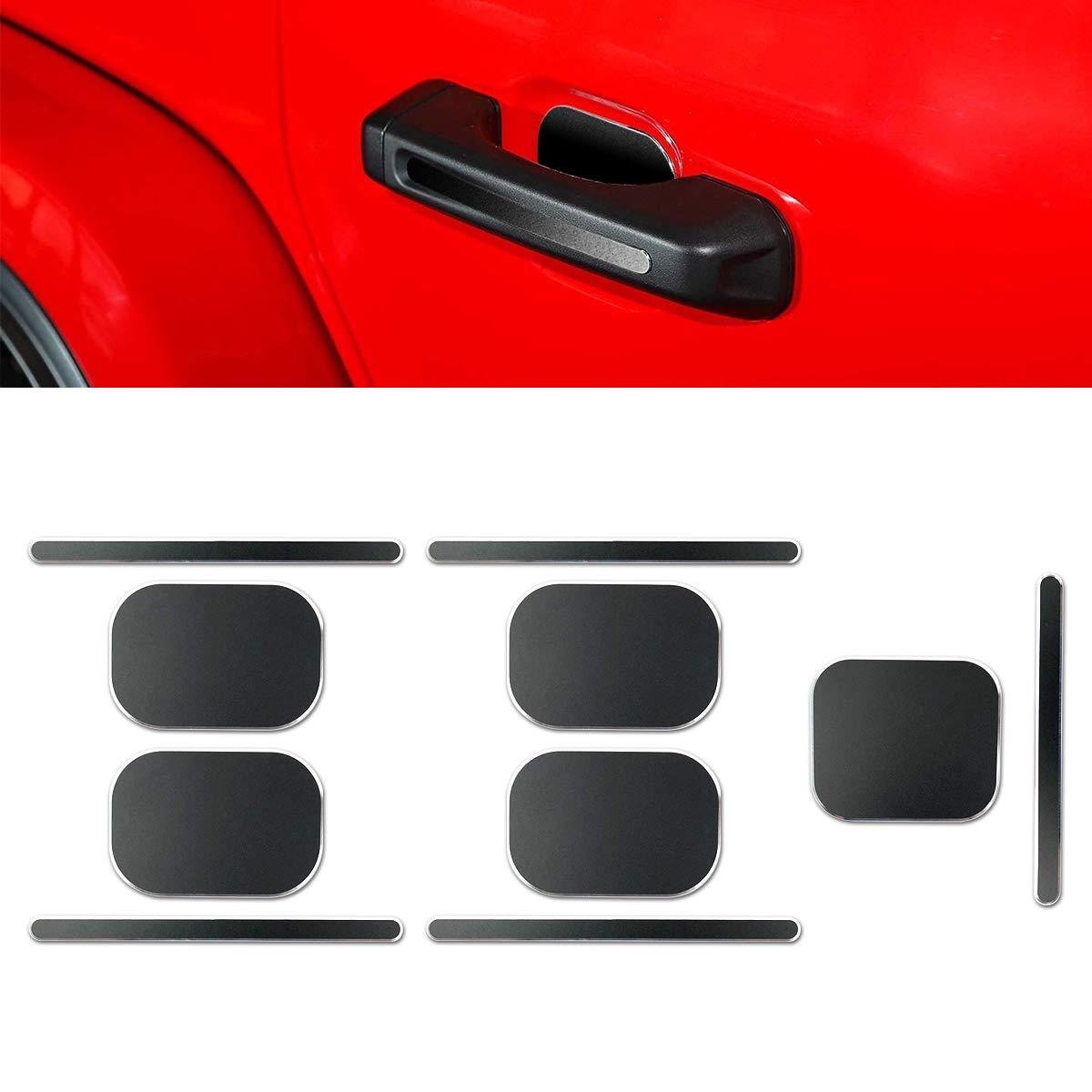Silver Gas Tank Door Trim Cover for 2018 Jeep Wrangler JL Red