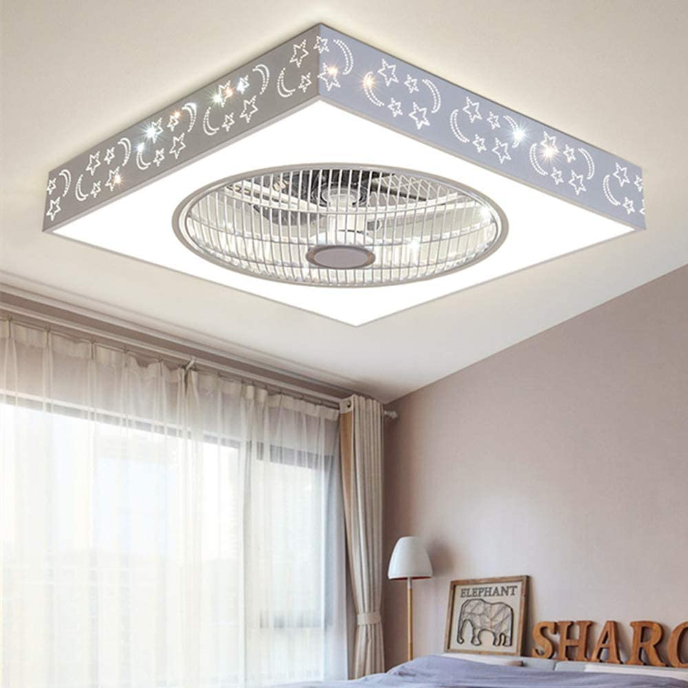 Ventilador de techo con iluminación LED, lámpara de techo redonda, 48 W, regulable, amortiguador de viento, luz de ventilador, mando a distancia para interior de la habitación de los niños, dormitorio
