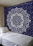 Mandala Gold Tapestries (Queen, Blue Silver)