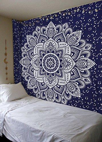 Madhu International Mandala Gold Tapestries (Queen, Blue Silver)