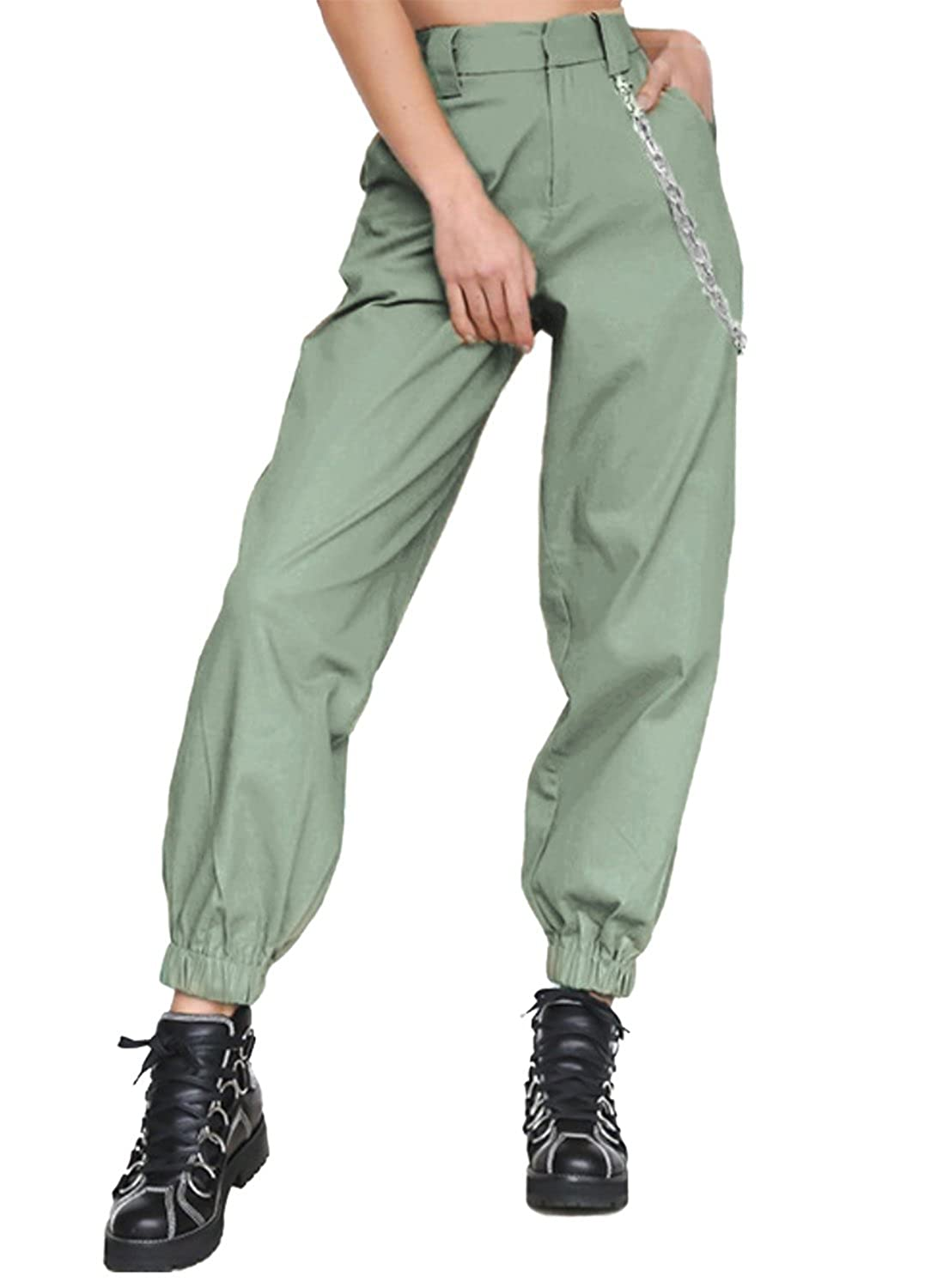 f149f540fb0d37 Amazon.com: MNLYBABY High Waist Solid Harem Trousers Streetwear Punk Cargo  Pants Capris for Women: Clothing