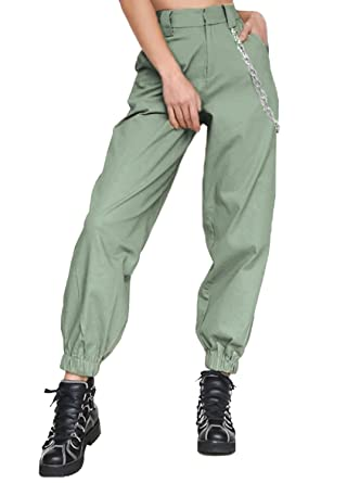 f0c4df34a2e414 MNLYBABY High Waist Solid Harem Trousers Streetwear Punk Cargo Pants Capris  for Women Size S (