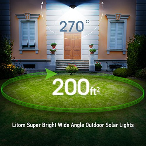 LITOM Classic Solar Lights Outdoor, 20 LED Wireless Motion Sensor Lights(White Light), 270°Wide Angle, IP65 Waterproof, Easy-to-install Security Lights for Front Door, Yard, Garage, Deck, Porch-4 Pack by Litom (Image #1)