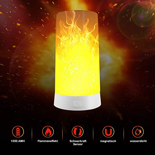 Led Flame Effect Light, Usb Rechargeable Flame Table Lamp Waterproof USB Rechargeable Flickering Flame Lantern with Remote for Party Bar