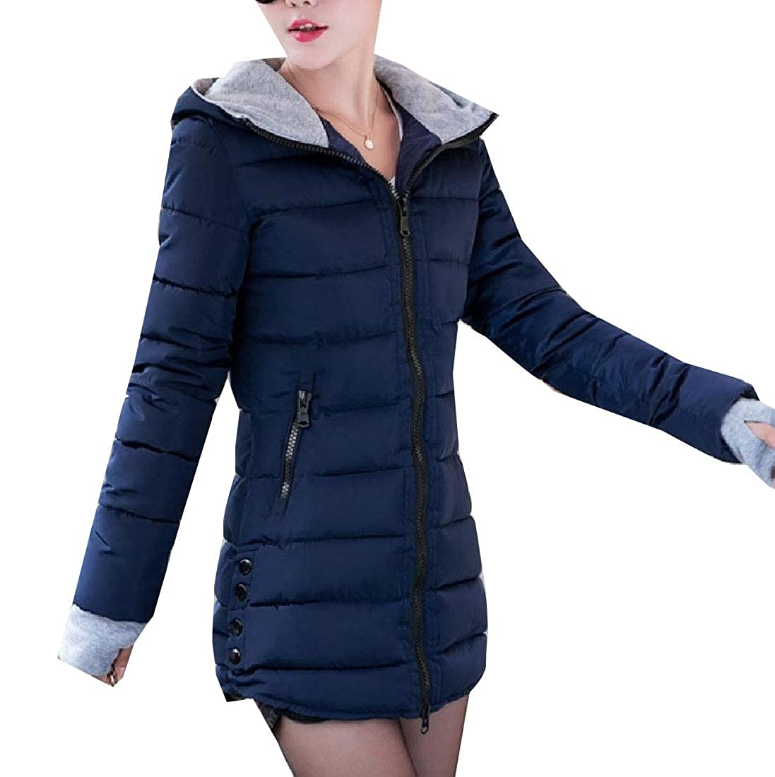 YUNY Women Hooded Overcoat Cotton-Padded Clothes Hit Color Down Parka Purplish Blue 3XL