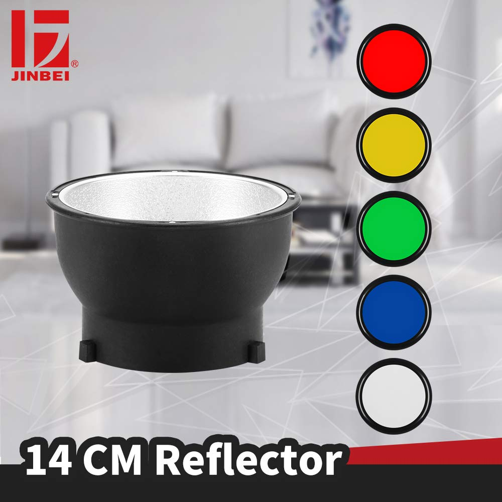 JINBEI 5.5''/14CM Standard Reflector with 5 Color Filters Gel Flash Speedlite Accessories for jinbei HD400 HD601 HD610 Flashes by JINBEI