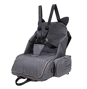 bd98d35835ca Amazon.com   KUNGKEN Travel Booster Seat Diaper Bag Portable Travel High  Chair Convertiable Maternity Nappy Tote Bags Multi Function Baby Dining  Table Chair ...