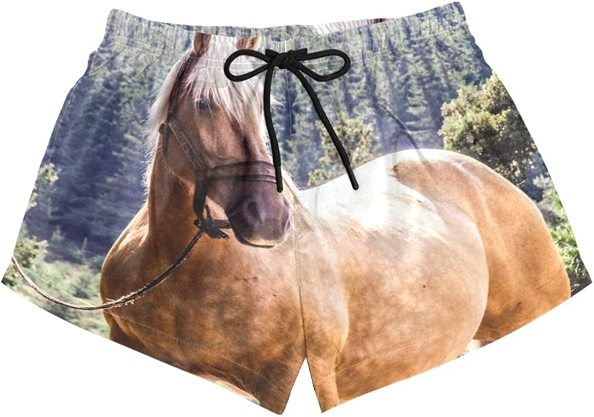 HEOEH Womens Horse in The Field Beach Shorts Pants Ladies Boardshort Swimming Trunks