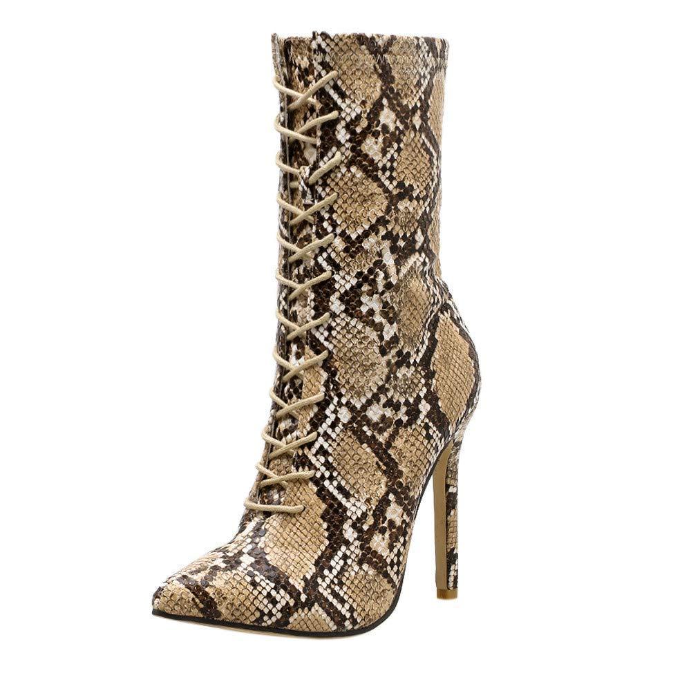 ZHRUI Schuhe mit hohen Absätzen, Frühling der Frauen beiläufige pumpt Schlangenleder-Muster Spitze Zehe Reißverschluss dünne hochhackige Schuhe Reißverschluss super hohe Schuhe (Farbe   MultiFarbe)