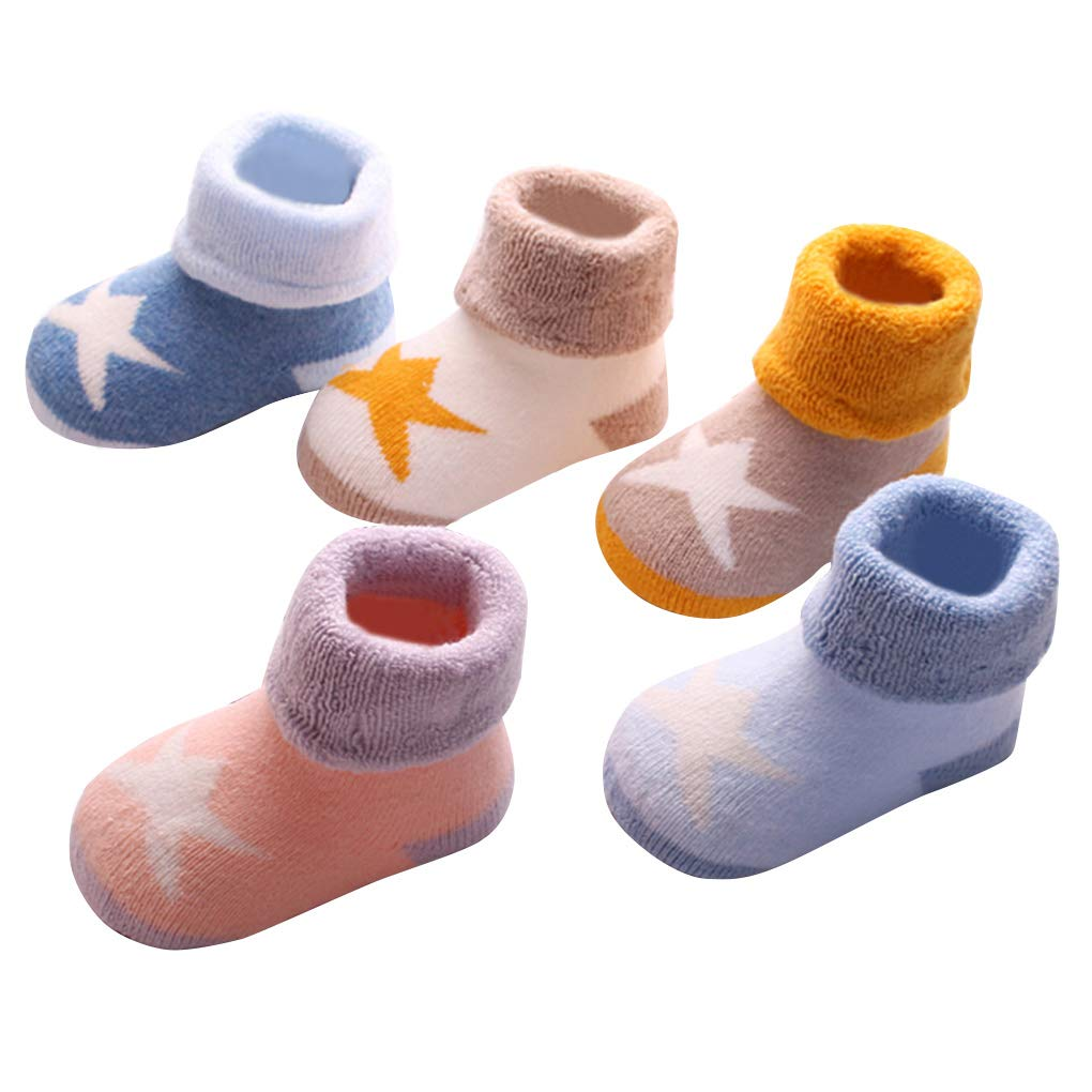 Baby Socks Naturally Colored Organic Cotton Baby Socks Newborn Socks Toddler Socks Soft Elastic Ankle Socks Set for Baby Girl Boy 5 Pairs 1-3 Years Pentagram Happy Cherry