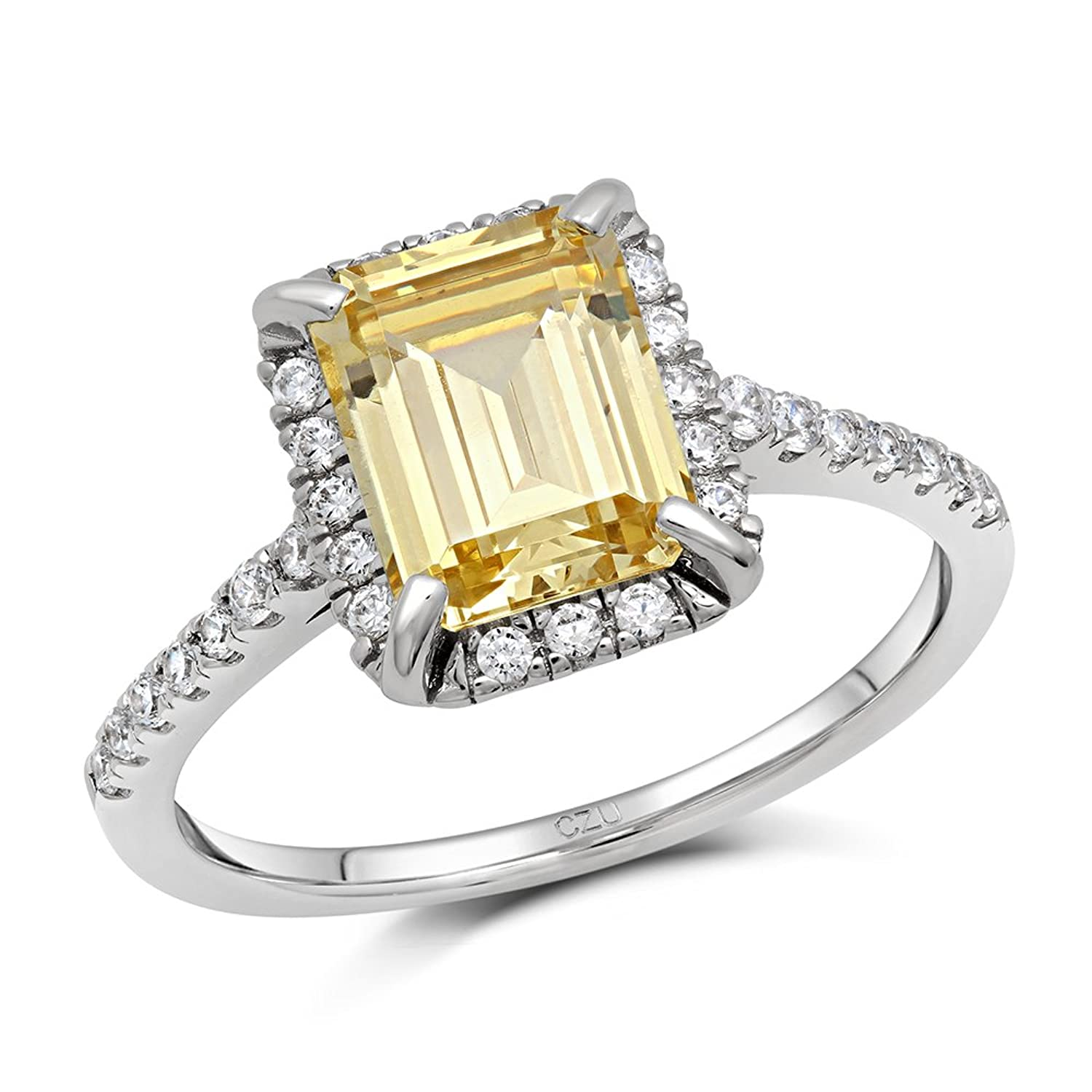 Emerald Cut Canary Yellow Cubic Zirconia Engagement Ring in Solid Sterling Silver