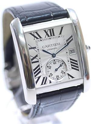 カルティエ CARTIER タンクMC ローマインデックス 裏スケ W5330003 腕時計 ブラック シルバー メンズ 自動巻き シルバー文字盤 [中古]